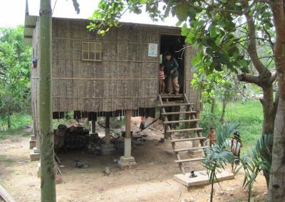 Nieuw huis van hout in de provincie Kampong Cham